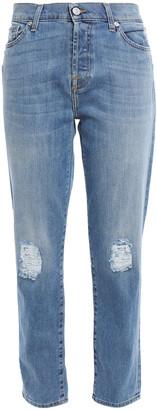 7 For All Mankind Josefina Distressed High-rise Slim-leg Jeans