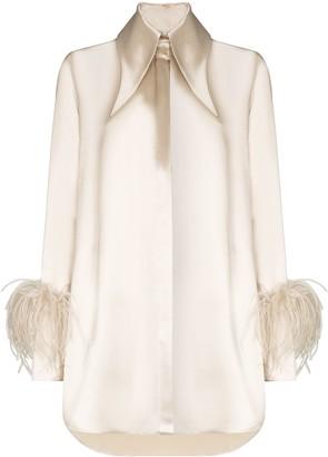 16Arlington Seymour feather-trim long-sleeve shirt