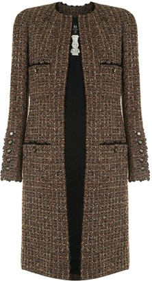 Chanel Pre Owned 1994 Collarless Woven Coat