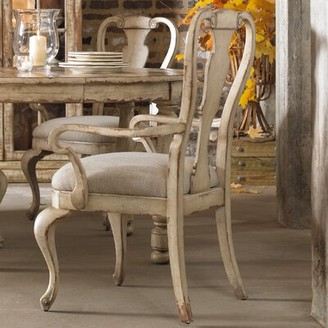 Hooker Furniture Wakefield Upholstered Queen Anne Back Arm Chair in Beige (Set of 2