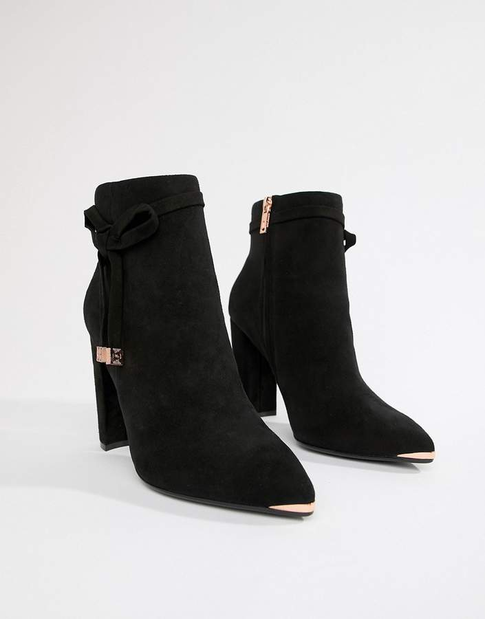 9811d0b5907 Black Suede Heeled Ankle Boots with Bow