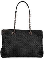Bottega Veneta Intrecciato Medium Double-Chain Tote Bag, Black