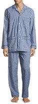 Neiman Marcus Gingham-Print Cotton Pajama Set, Dark Blue