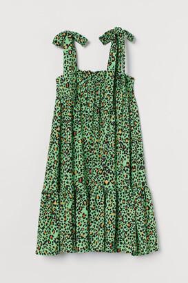 H&M Bow-detail Dress - Green