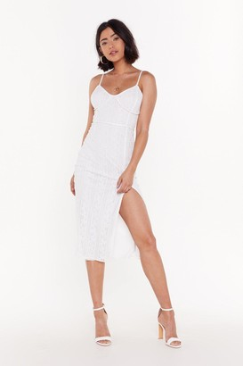 Nasty Gal Womens Save the Lace Dance for Me Midi Slit Dress - White