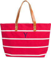 Cathy's Concepts Personalized Coral Striped Tote with Leather Handles