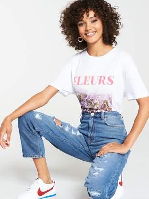 Very FleursOversized Slogan T-Shirt - White