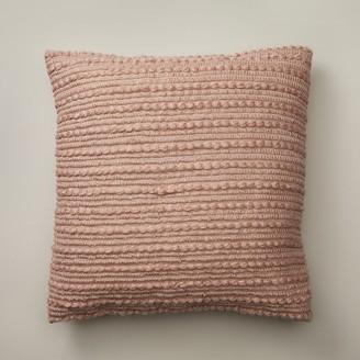 "Indigo Textured Stripes Cream Rose Pillow Cover 20"" X 20"""