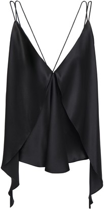 Michael Lo Sordo Open-back Asymmetric Layered Draped Silk-satin Camisole