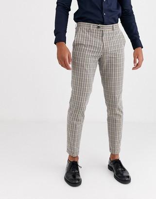 Jack and Jones slim fit vintage check suit trousers in brown