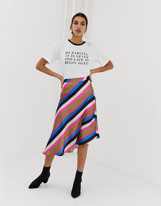 Neon Rose asymmetric midi skirt in luxe stripe-Multi