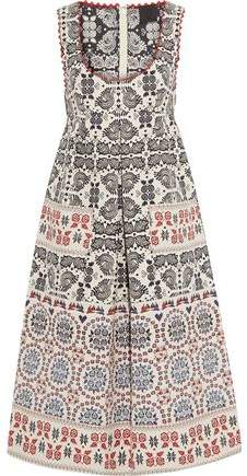 Anna Sui Pleated Metallic Cotton-Blend Jacquard Dress