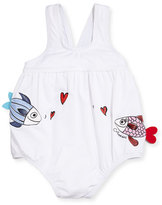 Armani Junior Kissing Fish One-Piece Swimsuit, White, Size 6-24 Months