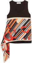 Carven Asymmetric Cotton-jersey And Printed Silk-satin Top - Black
