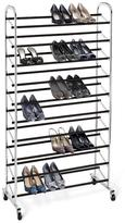 Container Store 10-Tier Rolling Shoe Rack Chrome