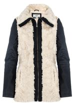 Quiz Stone And Black Faux Fur PU Jacket