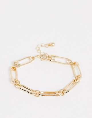 Asos Design DESIGN bracelet with safety pins in gold tone