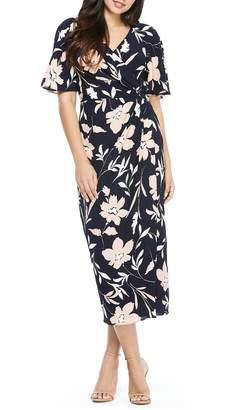 Maggy London Floral Faux Wrap Crepe Midi Dress