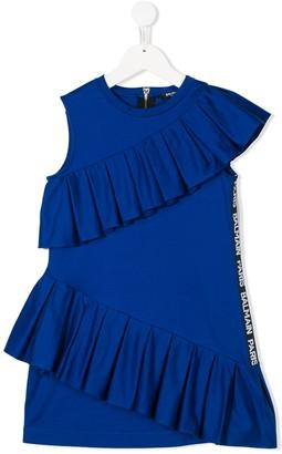 Balmain Kids Ruffle-Trimmed Cotton Dress