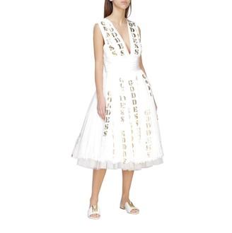Moschino Pleated Chiffon Dress With Laminated Prints