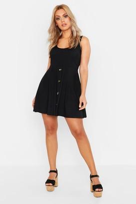 boohoo Plus Plunge Button Down Skater Dress