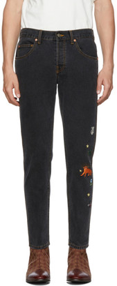 Gucci Black Embroidered Tapered Jeans