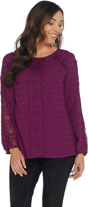 Isaac Mizrahi Live! Scoop- Neck Coupe Blouse with Lace Detail