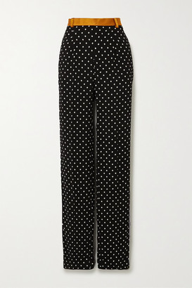 Haider Ackermann Silk-satin And Grosgrain-trimmed Polka-dot Crepe Wide-leg Pants - Black