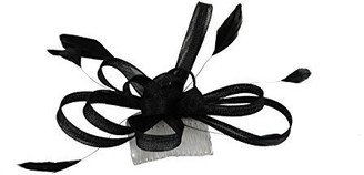 Top Brand Hair Accessories - Ladies Large Coiled Net Black Fascinator on a Comb