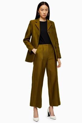Topshop Womens **Khaki Awkward Crop Trousers By Khaki