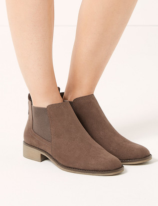 Marks and Spencer Wide Fit Chelsea Block Heel Ankle Boots