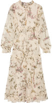 Zimmermann Maples Frill Ruffled Printed Crinkled Silk-georgette Midi Dress - Off-white
