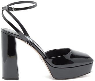 Prada Square-toe Patent-leather Platform Sandals - Womens - Black
