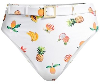 WeWoreWhat Emily Fruit Print Belted High-Waisted Bikini Bottoms