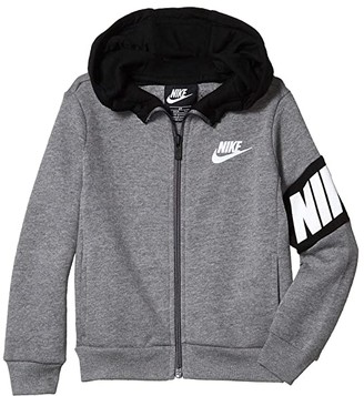 Nike Kids Lightweight Sueded Fleece Full Zip Jacket (Toddler) (Carbon Heather) Boy's Clothing
