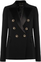 Versace Embellished Satin-trimmed Silk-crepe Blazer - Black