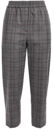 Brunello Cucinelli Cropped Bead-embellished Checked Wool Tapered Pants
