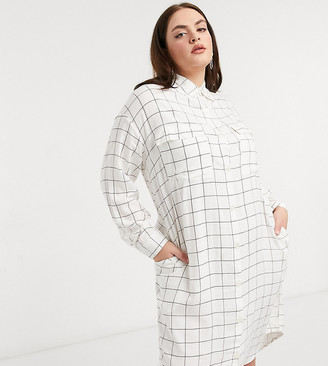 Native Youth Plus button down midi shirt dress in flannel grid plaid in cream