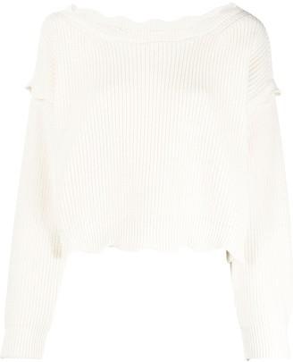 Twin-Set Scallop-Edge Sweater