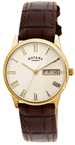 Rotary Gs02324/32 Ultra Slim Leather Strap Watch, Dark Brown/cream