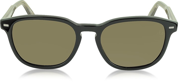 Ermenegildo Zegna EZ0005 01M Black & Brown Polarized Acetate Men's Sunglasses