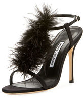 Manolo Blahnik Elia Feather T-Strap 105mm Sandal