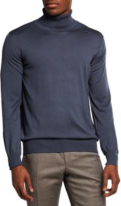 Brioni Men's Solid Long-Sleeve Turtleneck Sweater