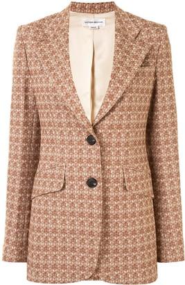 Victoria Beckham Geometric Pattern Single-Breasted Blazer