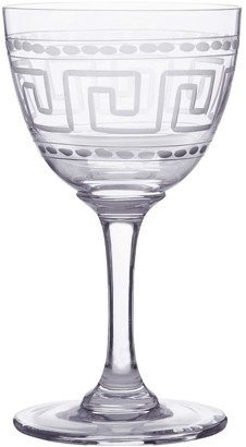 Six Hand-Engraved Crystal Liqueur Glasses With Greek Key Design