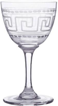 The Vintage List Six Hand-Engraved Crystal Liqueur Glasses With Greek Key Design