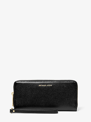 MICHAEL Michael Kors MK Pebbled Leather Continental Wristlet - Black - Michael Kors