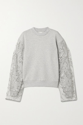Dries Van Noten Embellished Tulle-paneled Cotton-blend Jersey Sweatshirt - Gray