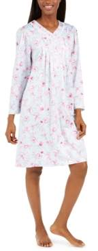 Miss Elaine Women's Brushed Back Floral-Print Satin Nightgown