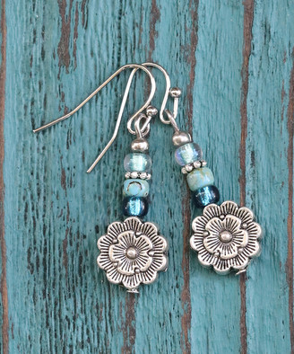 Boho Treasures By Wise Creations Boho Treasures by Wise Creations Women's Earrings BLUE, - Blue & Silvertone Beaded Flower Drop Earrings